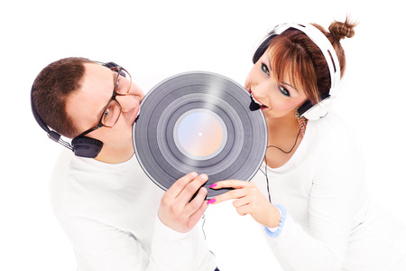 sound bite: A picture of a young couple biting vinyl