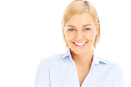 baclground: A picture of a young happy businesswoman posing over white baclground