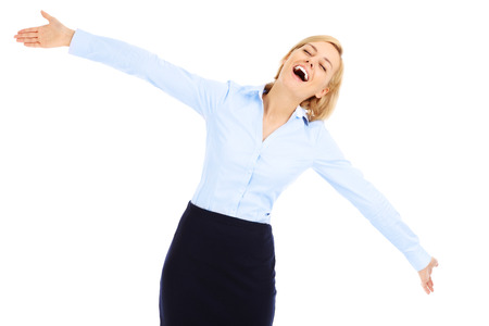 baclground: A picture of a young happy businesswoman dancing over white baclground