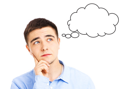 Young man thinking with fake cloud over white background 版權商用圖片