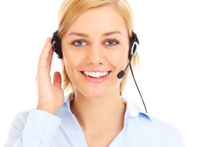 teleworker: A picture of a happy teleworker over white  Stock Photo
