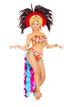 A picture of a samba dancer posing over white