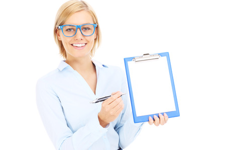 A picture of a young businesswoman with documents over white background photo