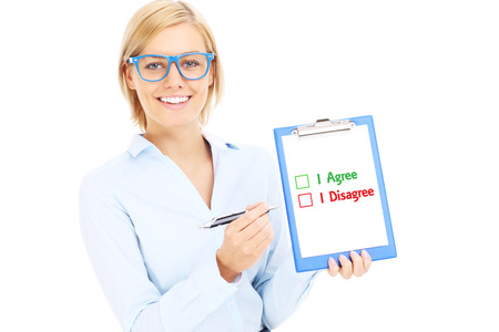 dilema: A picture of a young businesswoman with documents making decision over white background