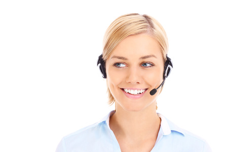 teleworker: A picture of a happy teleworker looking over white background