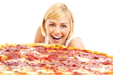 A picture of a happy woman with pizza over white background