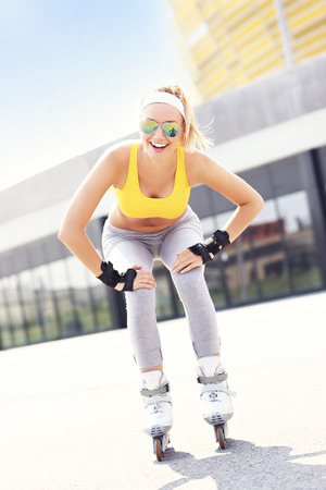 roller blade: A picture of a happy roller blader skating in the city Stock Photo