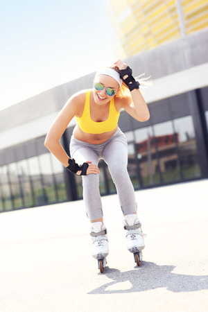 blader: A picture of a happy roller blader having fun in the city Stock Photo