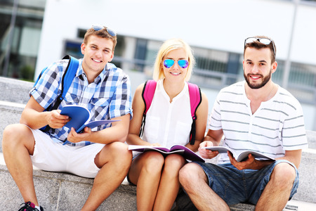 SATISFIED: A picture of a group of friends studying in the campus Stock Photo