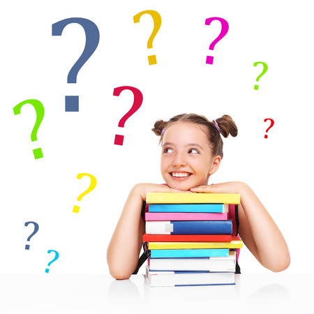 yes or no: A picture of a little girl having lots of questions Stock Photo