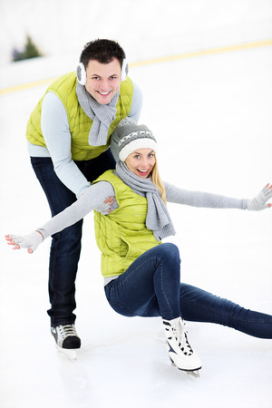 ice rink: A picture of a happy woman on the ice rink Stock Photo