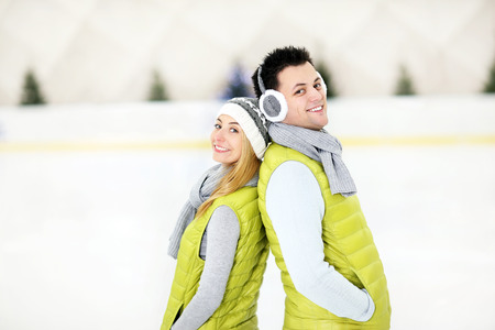 A picture of a happy man on the ice rink photo