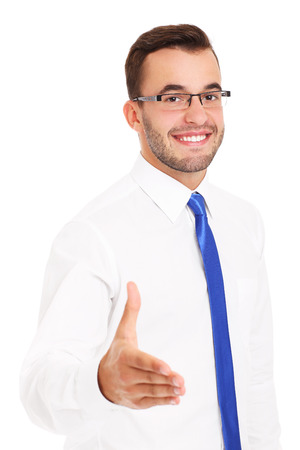 A picture of a happy businessman greeting someone over white background photo
