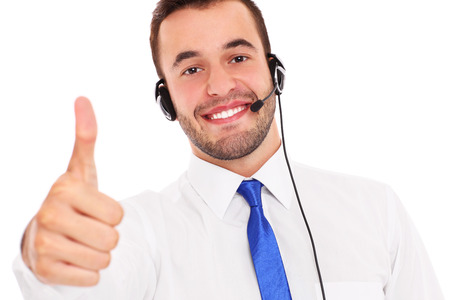 teleworker: A picture of a happy teleworker showing ok sign over white background Stock Photo