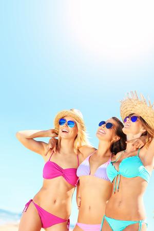sea beach:   group of women having fun on the beach