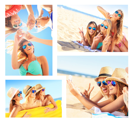 sun beach: A collage of pictures of women having fun on the beach