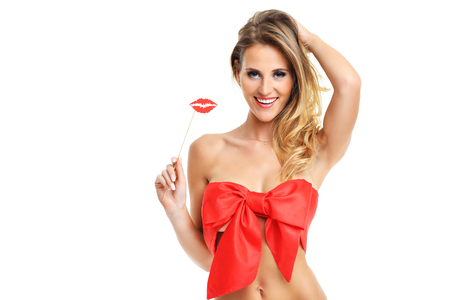 sexy women naked: A picture of a sexy Valentine woman over white background Stock Photo