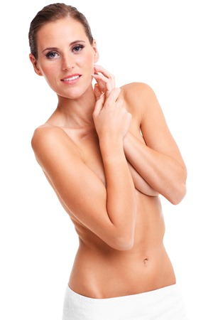 beautiful naked woman: A picture of sensual naked woman with fit abdominal over white background