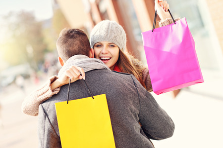 happy shopping: Picture of young couple shopping in the city