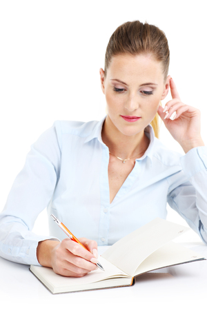 work book: Picture of businesswoman with documents over white background Stock Photo