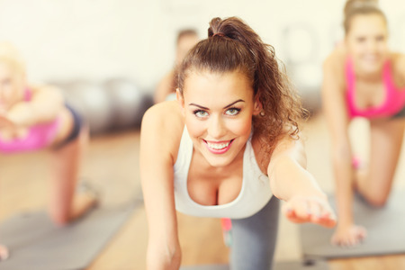 Picture of women group working out in gym Stock Photo