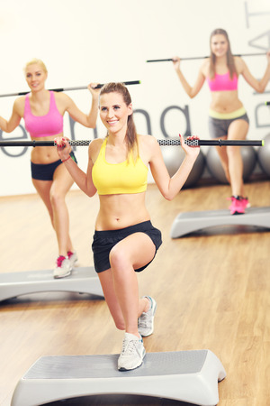 fitness gym: A picture of female group working out in gym