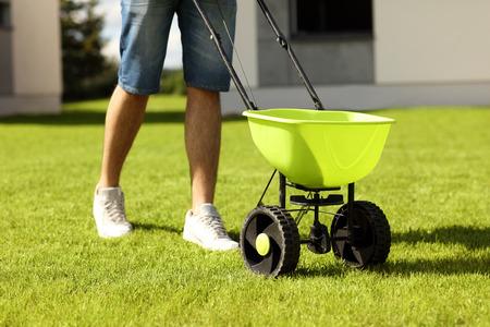 Bild des jungen Mannes Seeding Gras im Hinterhof Standard-Bild - 59452772