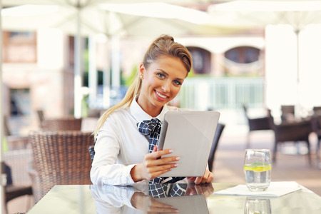 Picture of young manager working cafe Stock Photo