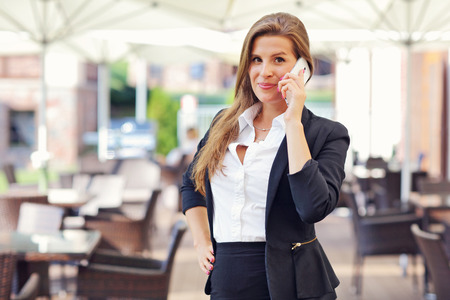 Picture of young businesswoman working cafe Stock Photo