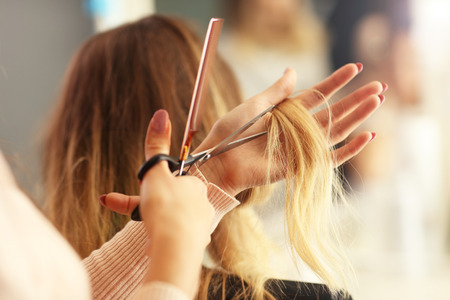 Picture showing hairdresser holding scissors and comb Foto de archivo