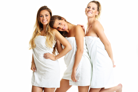 Picture showing group of friends in towels Stock Photo