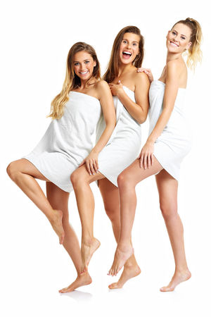 Picture showing group of friends in towels