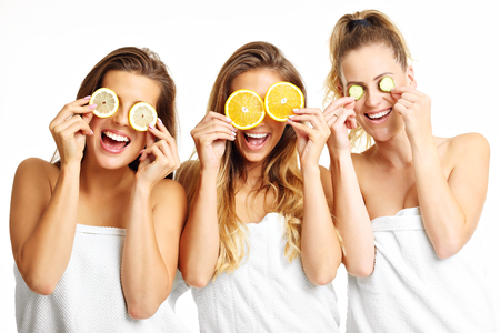 Picture showing group of happy friends in spa Фото со стока - 68787957