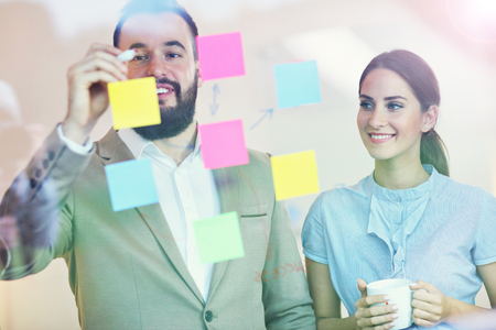 business office: Picture of businesspeople working together in office