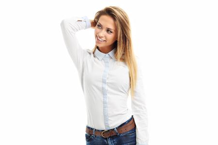 Portrait de femme heureuse isolé sur fond blanc Banque d'images