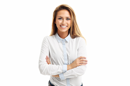 Portrait of happy woman isolated over white background Standard-Bild