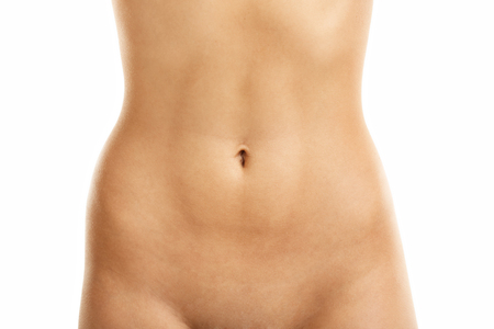 digesting: Fit belly isolated on white background Stock Photo