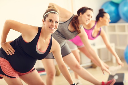 Group of pregnant women during fitness class 版權商用圖片