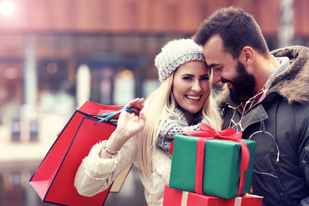 Picture of couple shopping for Christmas in the city