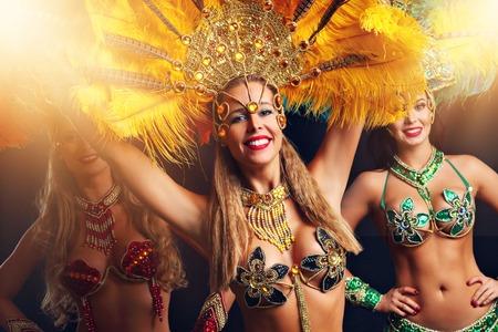 Brazilian women dancing samba at carnival 写真素材