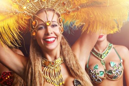 Brazilian women dancing samba at carnival