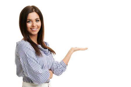 Caucasian brunette woman having fun and smiling isolated over white background