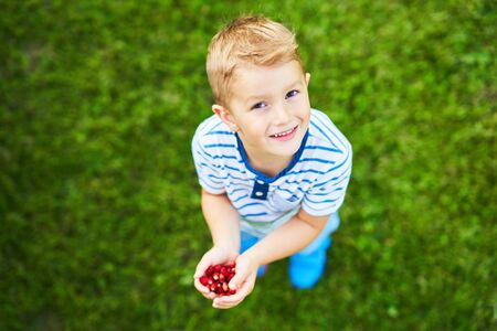 Happy 3 year old boy having fun holding little strawberries