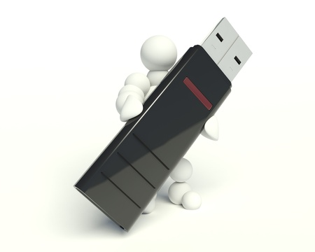 man hold usb flash. Isolated 3d image photo