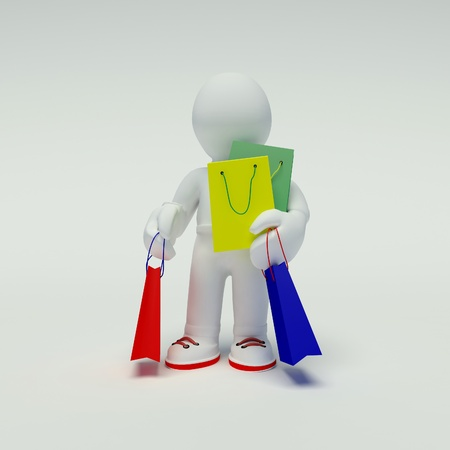 3d human carry many shopping bags photo
