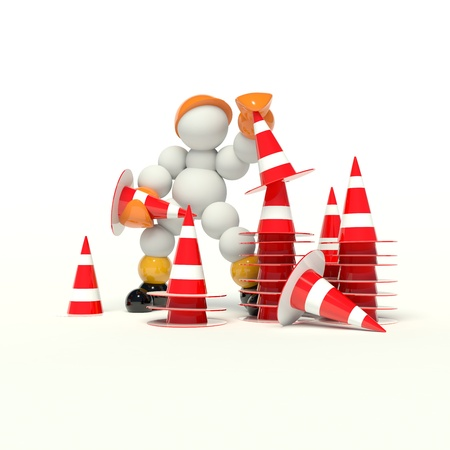 traffic cone: under construction 3d man stacking lot cones
