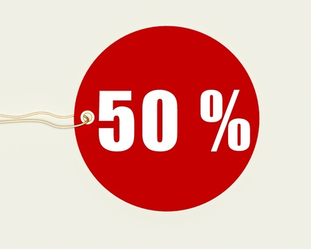 sales promotion: Procent tag on a white background,50%,