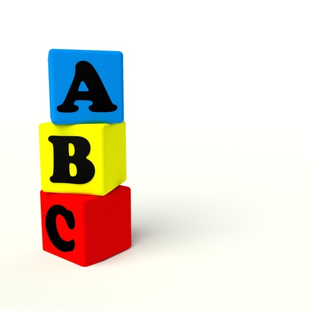 kindergarten toys: alphabet color blocks on a white background Stock Photo