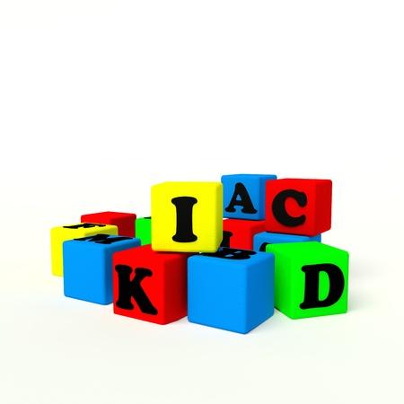 alphabet color blocks on a white background Stock Photo - 11638671
