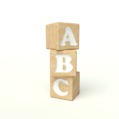 alphabet wooden blocks on a white background photo